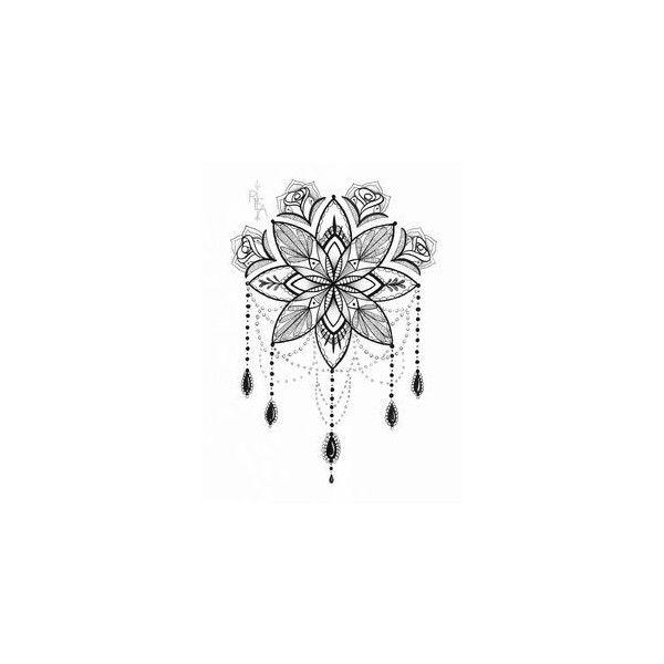 Mandala Tattoo Neck On Pinterest Liked On Polyvore Featuring