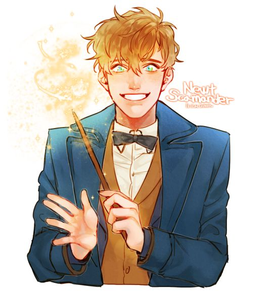 Fantastic Beasts Newt Scamander by ChunSik //// the cutest little hufflely puff in the world ever.