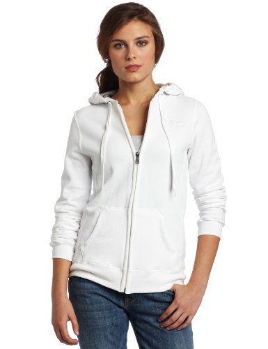 Champion Women's Full Zip Eco Fleece Jacket Hoodie, White, Large