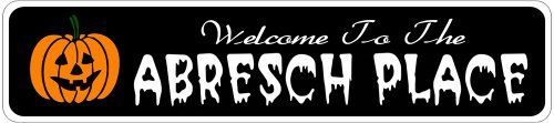 ABRESCH PLACE Lastname Halloween Sign - 4 x 18 Inches by The Lizton Sign Shop. $12.99. Rounded Corners. Predrillied for Hanging. 4 x 18 Inches. Aluminum Brand New Sign. Great Gift Idea. ABRESCH PLACE Lastname Halloween Sign 4 x 18 Inches - Aluminum personalized brand new sign for your Autumn and Halloween Decor. Made of aluminum and high quality lettering and graphics. Made to last for years outdoors and the sign makes an excellent decor piece for indoors. Grea...
