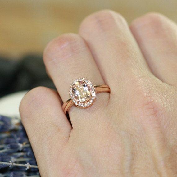 halo engagement ring wedding set in 14k gold