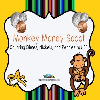 """Money Scoot is a fun and exciting game that gets all of your kiddos up and out of their seats and moving around.It can be used as a preview to see what your students already know, as a review or as an assessment after teaching counting money to 50¢. ncludes: Directions to """"Scoot"""" 24 task cards and 4 Take a Break Cards if you have more than 24 students A recording sheet Answer Key $ #money#math#monkeys#TPT#teaching ideas#task cards#education"""