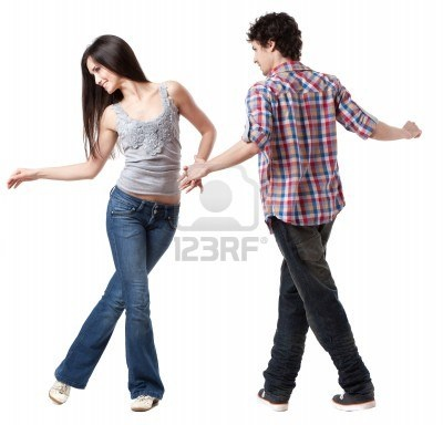 Social dance West Coast Swing A demonstration pose Stock Photo