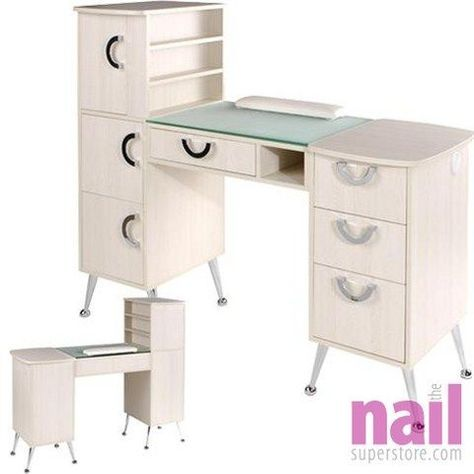 EuroStyle Manicure Table | Retro Design In Soft Ivory Color - Model MKG-767 - Each