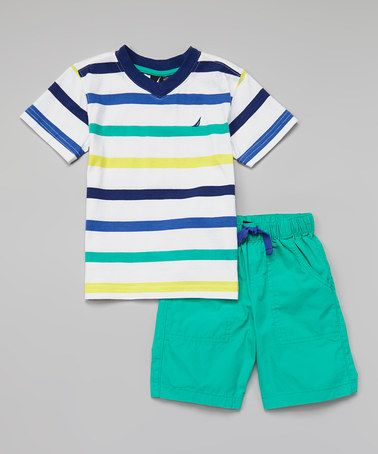 Look what I found on #zulily! Navy Stripe Tee & Teal Shorts - Infant & Toddler by Nautica #zulilyfinds