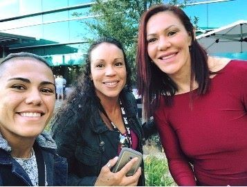 """Once foes, now friends: Marion Reneau and Jessica Andrade, along with Cristiane """"Cyborg"""" Justino."""