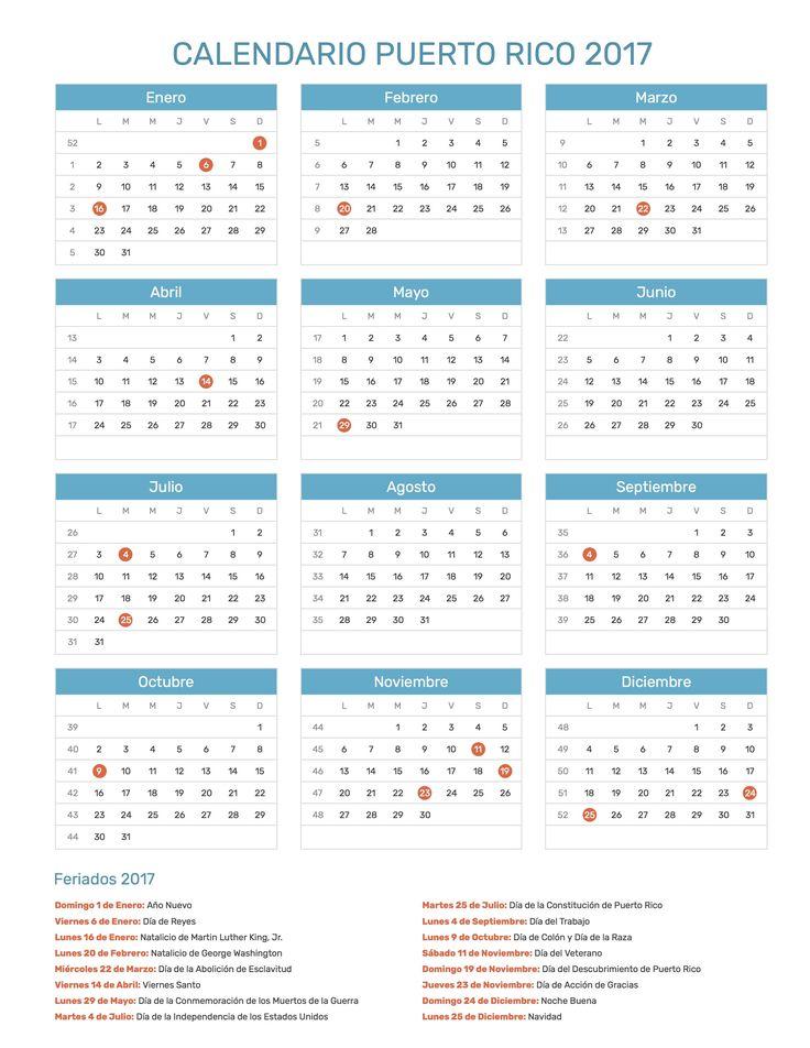 Calendario de Puerto Rico con feriados nacionales año 2017. Incluye versión para imprimir en formato JPG y PDF totalmente gratis.