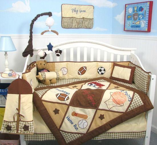 Soccer Basketball Baseball And Football Themed Nursery Set Sports Decorations