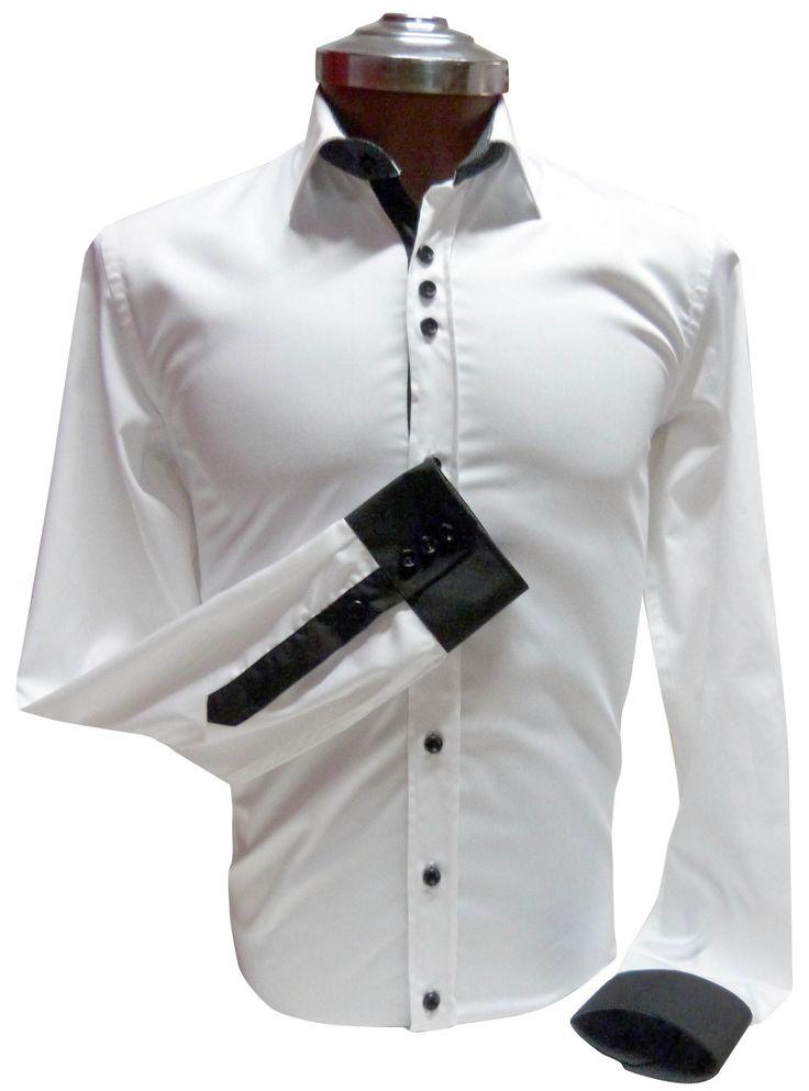 Camisa Blanca 100% algodón, Slim Fit,  aplicación en Negro. Ehgho - Perú