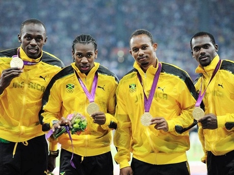 From left: Usain Bolt, Yohan Blake,  Michael Frater, Nesta Carter - Ricardo Makyn/Staff Photographer