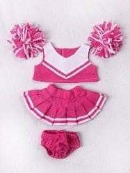 "Pink & White Cheerleader Uniform Outfit Clothing Fits Most 8""-10"" Most Webkinz, Shining Star And 8""-10"" Make Your Own Stuffed Animals And Build-A-Bear"