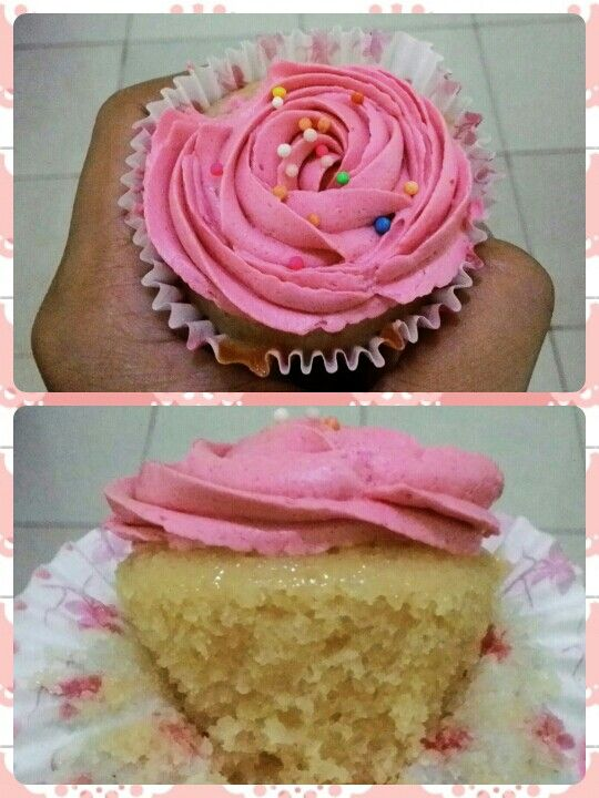 This is one of some eggless vanilla cake/cupcake recipe that i've tried. I got the recipe from anna olson. Those cupcake looked good, but for me it's just too sweet.