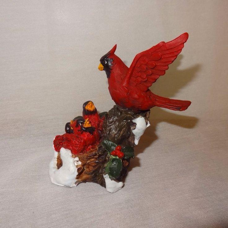 "Cardinal Mother Feeding Chicks  Nest Figurine 4"" Enesco 1988 Taiwan  Resin  #Enesco"