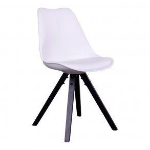 Spisebordsstol i hvid plast, sorte træben