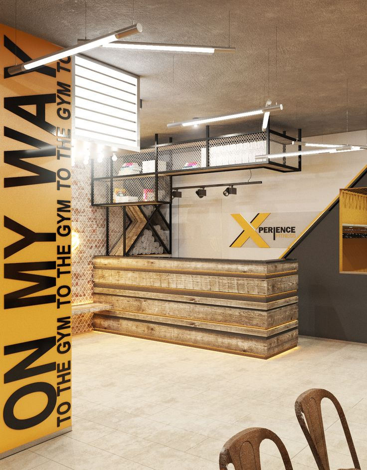 Интерьер зоны рецепции в тренажерном зале. Gym, fight club.
