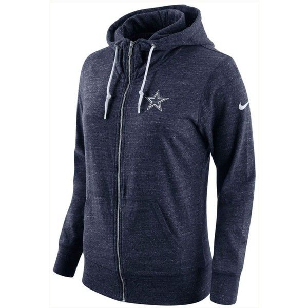 Nike Women's Dallas Cowboys Tailgate Vintage Full-Zip Hoodie ($70) ❤ liked on Polyvore featuring tops, hoodies, navy, nike top, hooded sweatshirt, navy hoodie, nfl hooded sweatshirts and nike hoodie