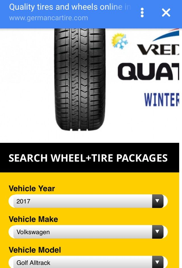 Winter package (tires on wheels) for new 2017 Golf Alltrack www.GermanCarTire.ca Available to buy online.