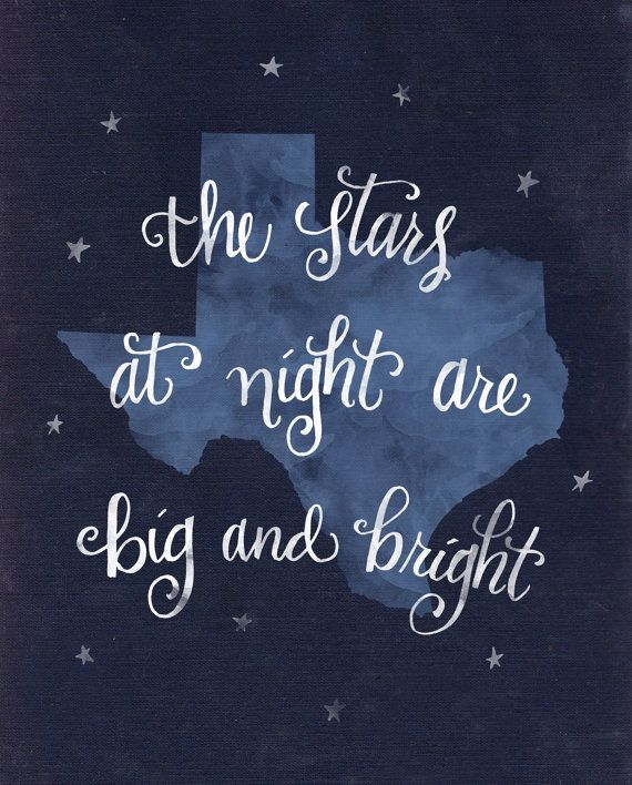 Hand lettered Stars at Night quote on the state of Texas, a watercolor look on this digital print, in multiple sizes and formats.  So many songs