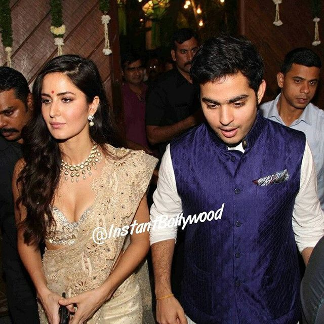 Katrina Kaif came with Mr. Mukesh Ambani's son.  Hmmm... Aakash Ambani at Mr Bachchan's and Anil Kapoor's Diwali Bash. Aayan Mukherjee was accompanying them as well @InstantBollywood ❤❤❤