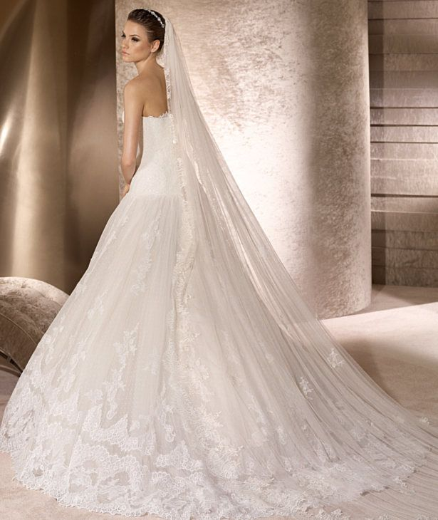 Buy 2012 strapless tulle beading applique dropped waistline wedding dress bridal gown-HuLu