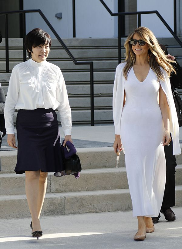 First lady Melania Trump, left, and Akie Abe, wife of Japanese Prime Minister Shinzo Abe, tour Morikami Museum and Japanese Gardens in Delray Beach, FL on  Februrary 11, 2017 (AP/REX/Shutterstock)