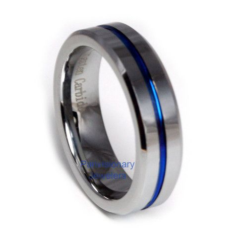 bed6e62a6e8f3 Blue IP Tungsten Carbide Thin Blue Line Ring 6MM t