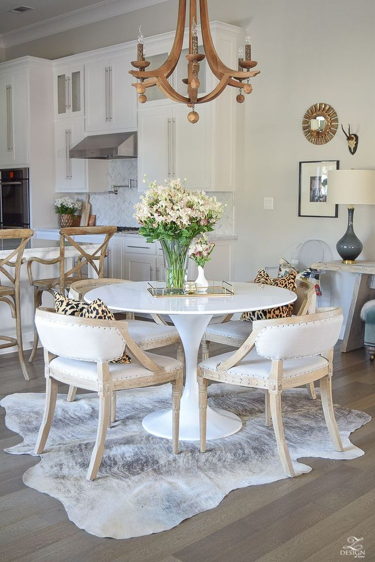 Zdesign At Home How To Get The Curl Out Of A Cowhide Rug Farmhouse Style Dining Room Farmhouse Dining Room Table Cowhide Rug Living Room