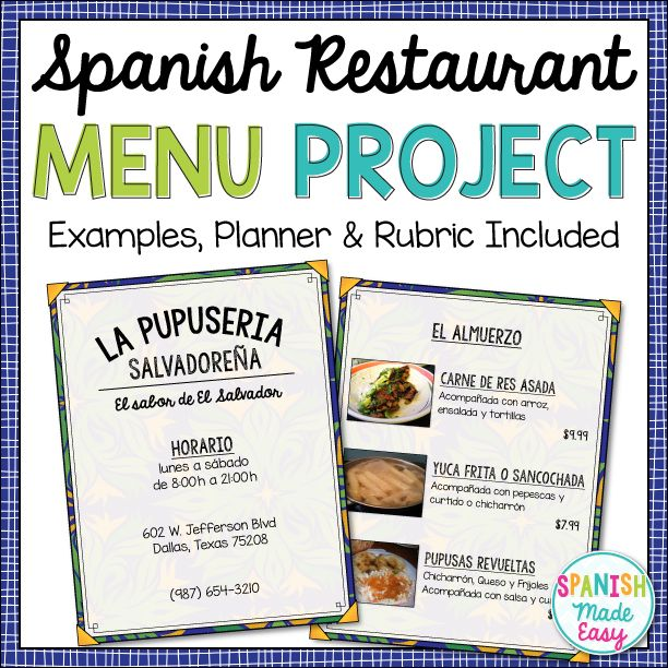 This is a restaurant menu project for Spanish I. Students will design a restaurant menu that serves traditional Spanish dishes from a Spanish-speaking country of their choice.