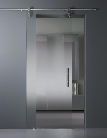Gradient satin glass sliding door.