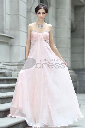 Abiti in Magazzino-Chiffon di perline abito da sera rosa senza spalline