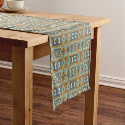 Teal Turquoise Orange Brown Eclectic Ethnic Look Long Table Runner - rustic gifts ideas customize personalize