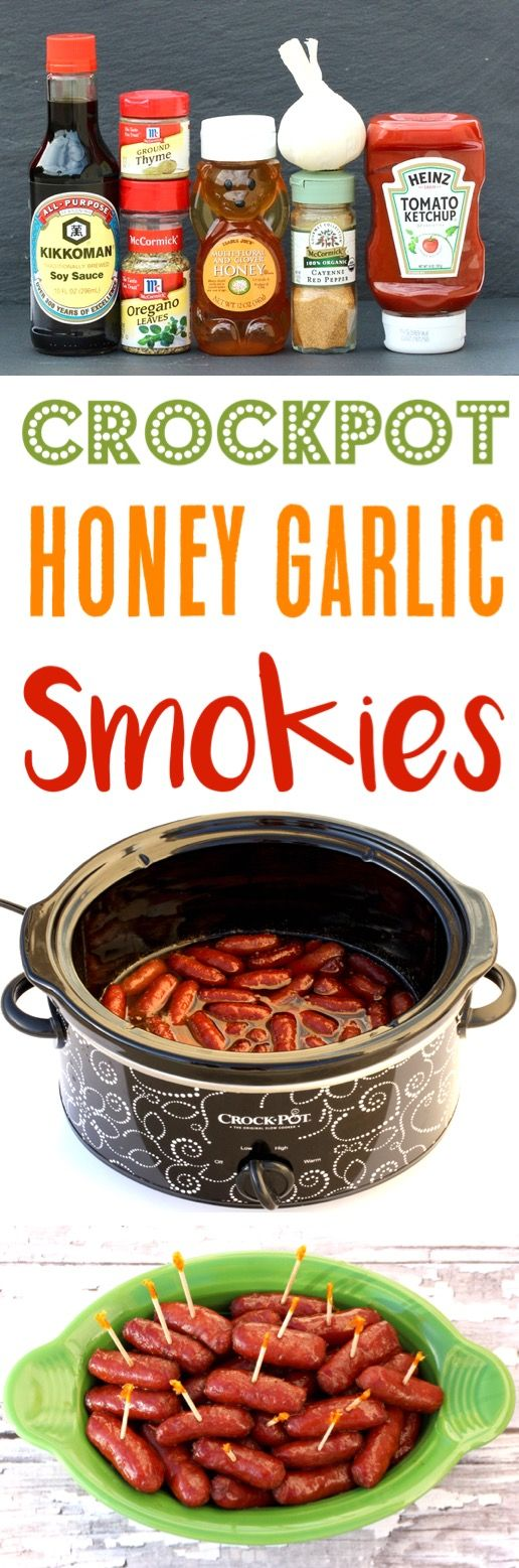 Crockpot Smokies Recipe! This EASY Honey Garlic Slow Cooker Appetizer is off-the-charts delicious, and always the hit of the party!  Serve it at your next get together or holiday gathering, and watch it disappear!
