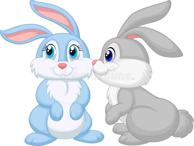 Cute rabbit kissing stock vector. Illustration of kiss - 45743104