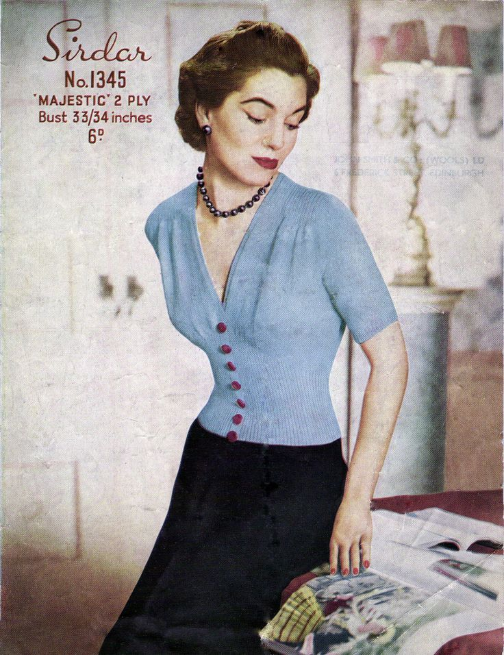 "This is a 1950s pattern for a glamorous short-sleeved jumper. To fit bust 33/34"" Download the pattern HERE"