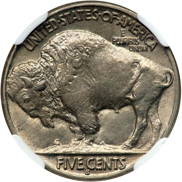 1918-S Buffalo Nickel. NGC MS65 Well struck, fully lustrous and untoned. The elusive quality of high-end 1918-S Buffalo nickels is well known in numismatic circles. Produced during World War I, the 1918-S was the casualty of economic events, in more ways than one. In order to save dies and prolong their life, the dies were, for the most part, spaced farther apart than standard to deliver strong blows to the coins, also, they were used far too long before being retired. David Lange explains…