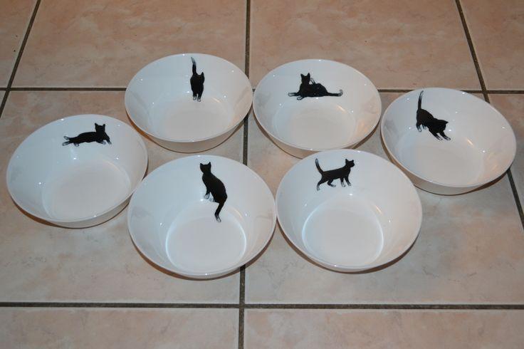"""6 bols, tasses, coupes à dessert en verre peintes """"chats noir et blancs"""" CADEAU FETE DES MERES"""