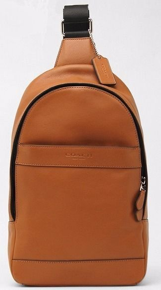 COACH Men 71751 ~ CAMPUS PACK ~ Saddle Brown LEATHER SLING Bag Backpack~NWT $350