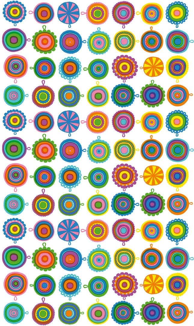 Lappuliisa, designed for Marimekko by artist Maija Louekari. Louekari was inspired by her grandmother's vintage crocheted potholders.