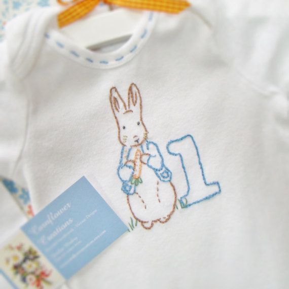 Peter Rabbit - Beatrix Potter First Birthday Onesie - Hand Embroidered (made to order any size) on Etsy, $25.00
