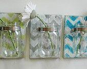 YOU PICK Chevron Wall Decor Trio Three Mason jars mounted on recycled wood shabby chic rustic wall decor