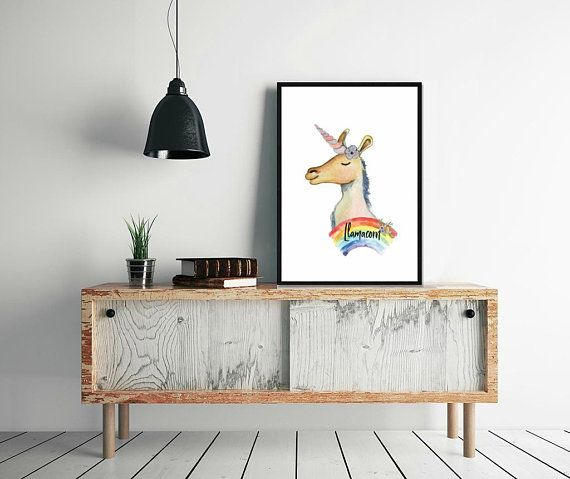 Llama Print, Llamacorn, Llama Art Print, Nursery Llama Print, Llama Poster, Rainbow Print Digital, Llama Home Print, Llama Printable