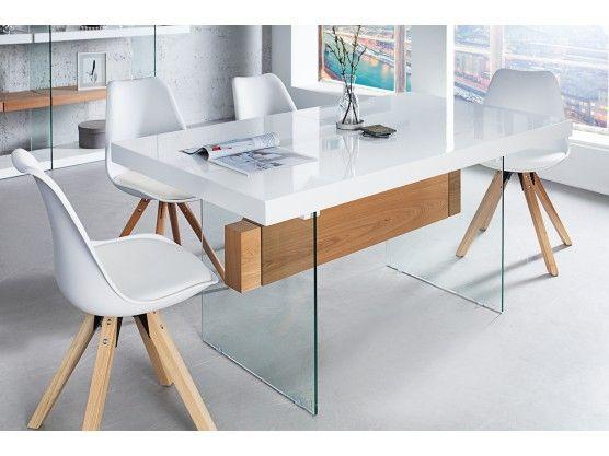 Table à manger extensible  blanc laqué/bois chêne et verre Onyx 160 à 200 cm