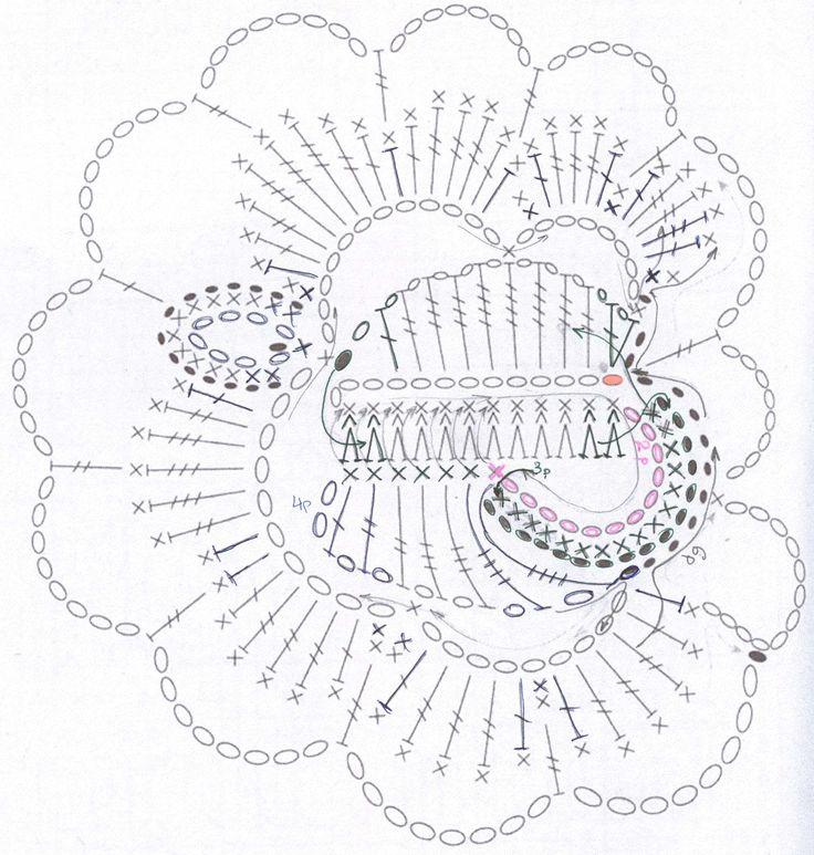 Вязание крючком ирландские розы схемы