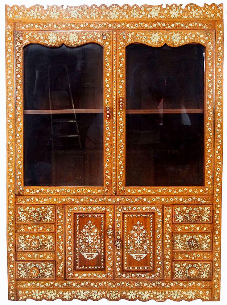 antik indische schrank vitrine Antique Vintage Bone Inlay indian anglo Cabinet