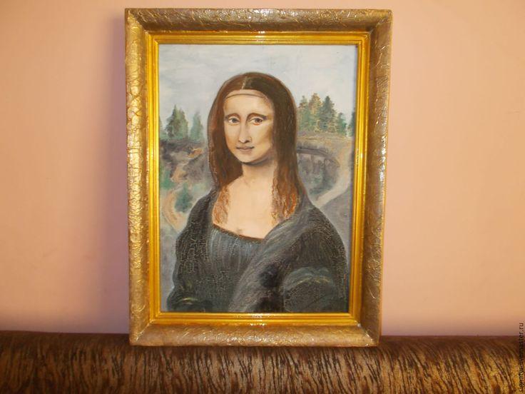 Купить МОНА ЛИЗА МАСЛО,КАРТОН РУЧНАЯ РАБОТА - комбинированный, картина маслом, картина в подарок