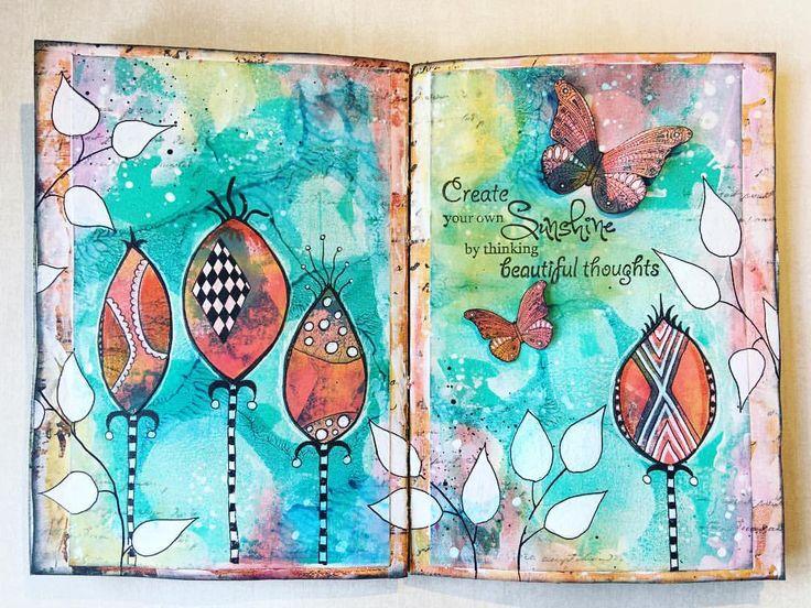 "91 gilla-markeringar, 1 kommentarer - Melina Dahl  (@minaskreativa) på Instagram: ""New process video is up. Spread in my art journal using #gelliarts #gelliplate and…"""