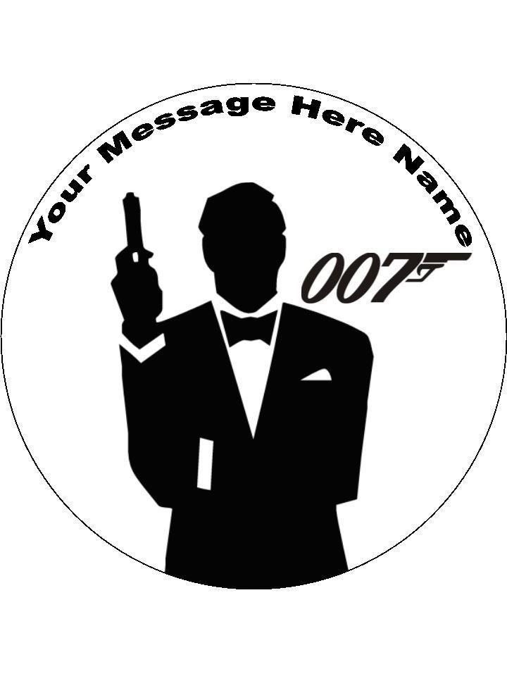 James Bond Cake  topper 7.5   round(pre cut icing)
