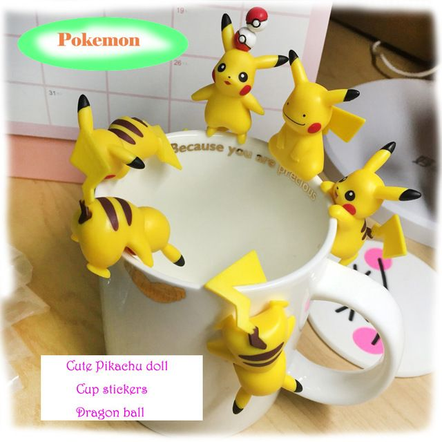 12.79€ Original Pokemon PokeBall + Pikachu Chiffres ensemble ABS copo anime Figurines Super Maître Pokemon pokeball Tasse autocollants