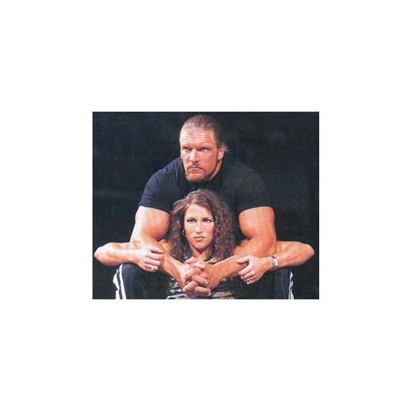 steph and hhh Triple H and Stephanie Mcmahon ❤ liked on Polyvore featuring home, home decor and wwe