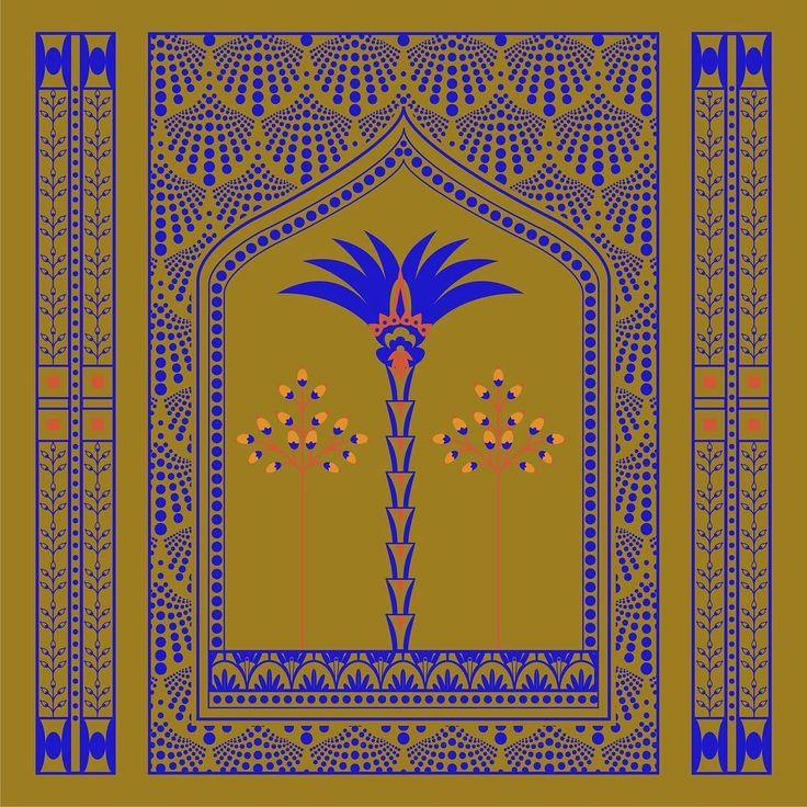 Pattern design, illustration, oriental pattern, palm tree, Eva Lechner, graphic design